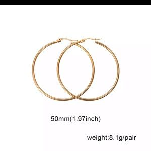 NIB 50mm 14 kt gold plated gold Hoop Earrings
